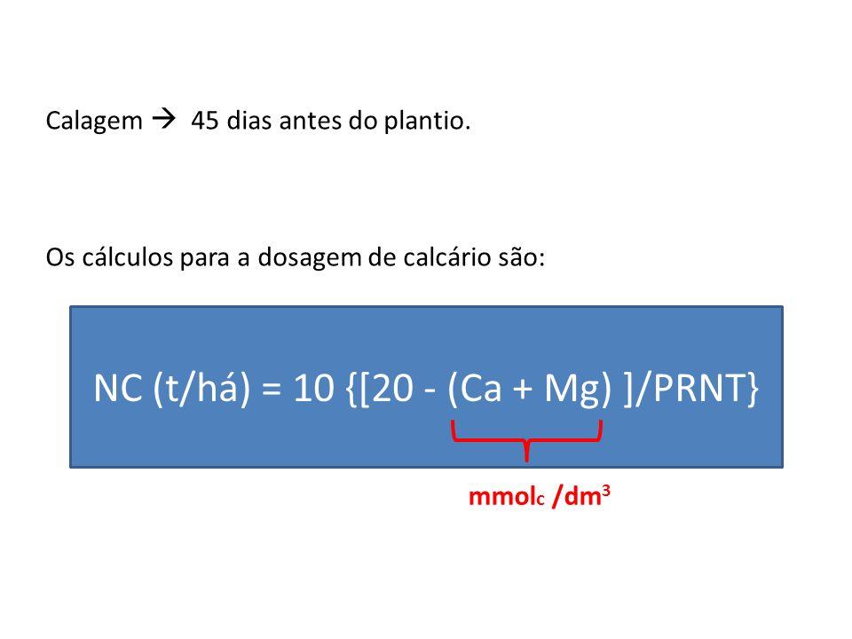 NC (t/há) = 10 {[20 - (Ca + Mg) ]/PRNT}